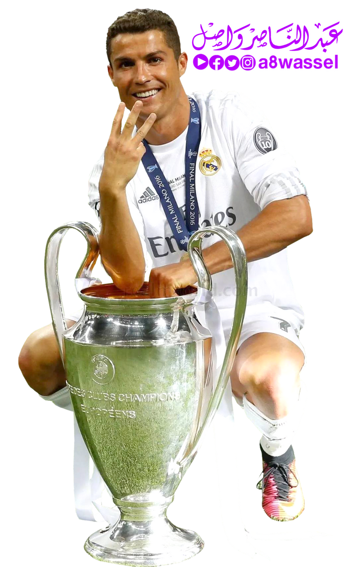 Cristiano Ronaldo Holds Champions League Cup 2017 By A8WASSEL