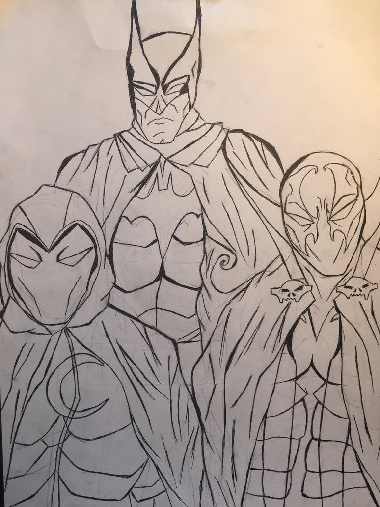 Three Caped Crusaders [Uncolored] by JOSHRAMBO123