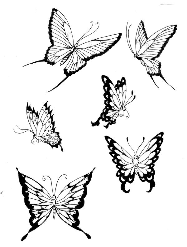 Line Drawing Butterfly Tattoo : Butterflies lines by koshii on deviantart