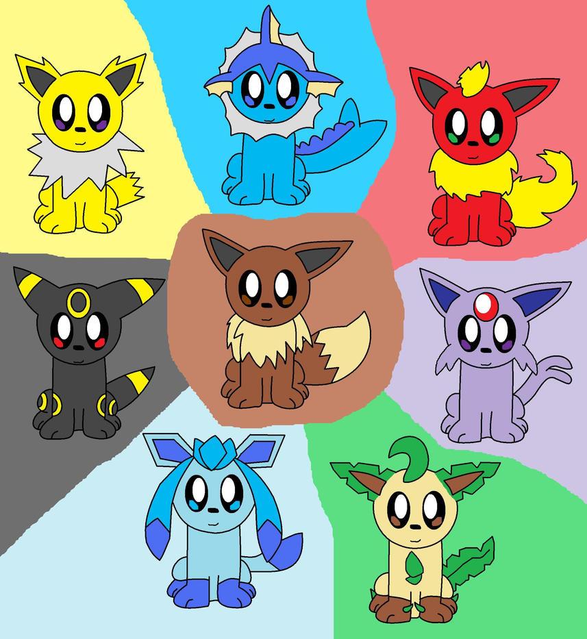 The Eeveelutions Chibi by pokemonlpsfan on DeviantArt
