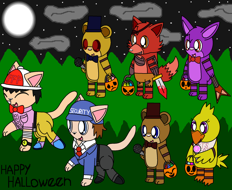 Fnaf Chibi Halloween Night by pokemonlpsfan