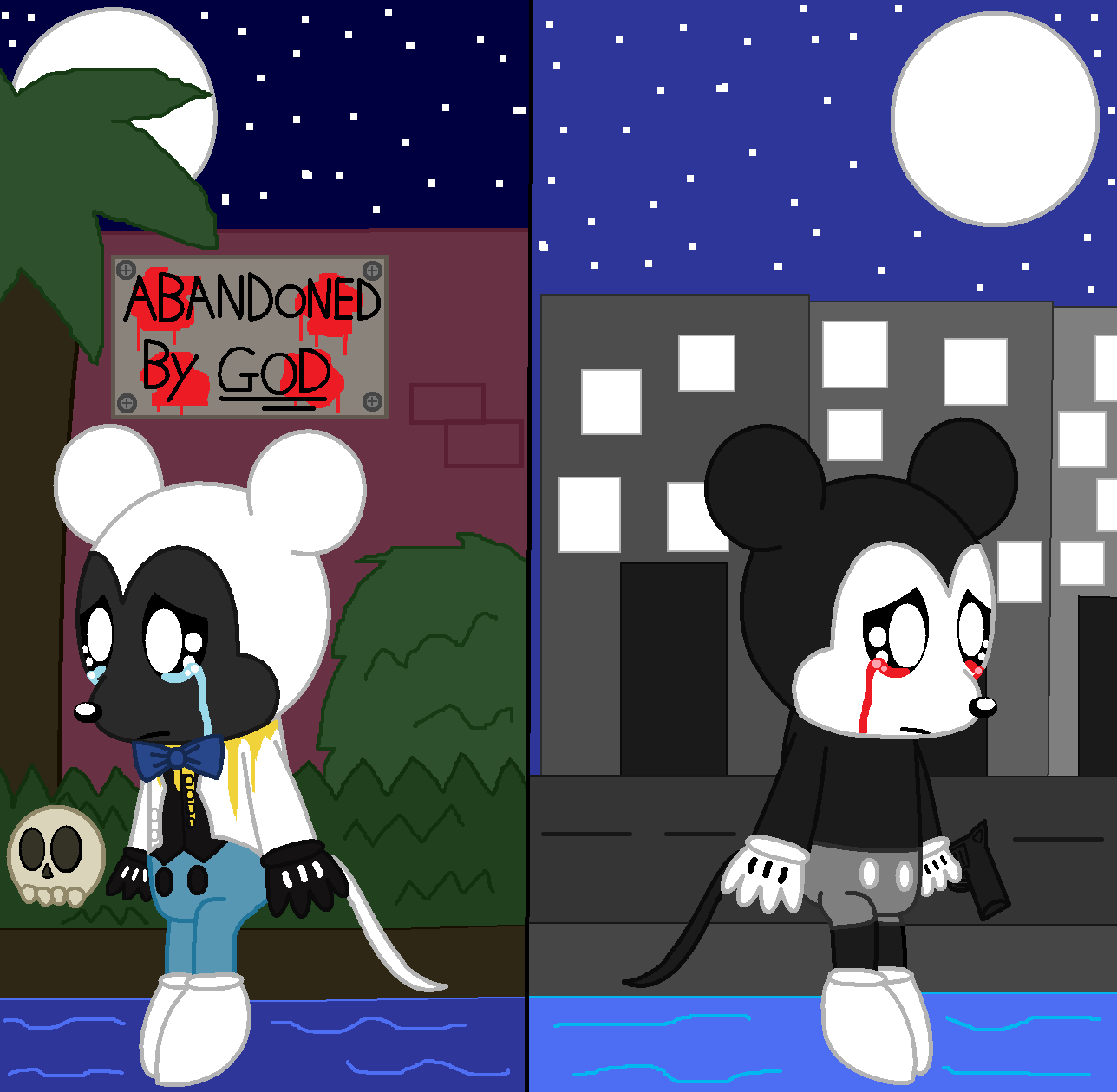 Negative Mickey And Suicide Mouse Chibi Loneliness By