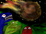 Three dinosaurs and a meteor