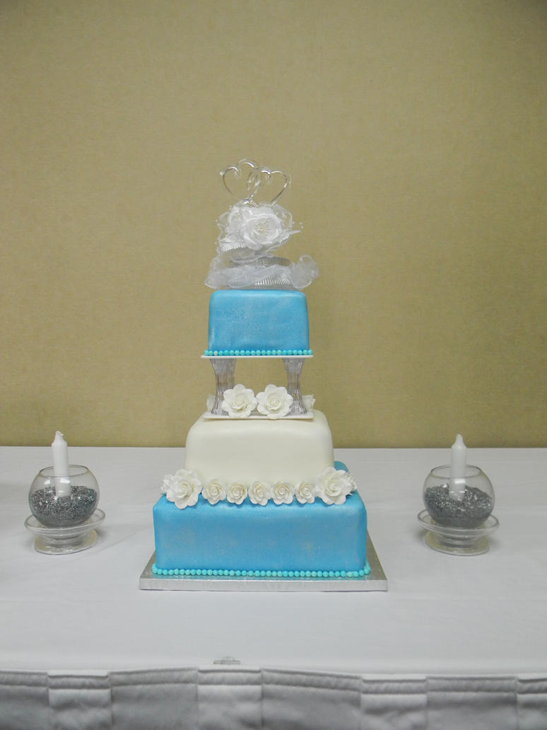 blue and silver wedding cake by cellascakes on deviantart