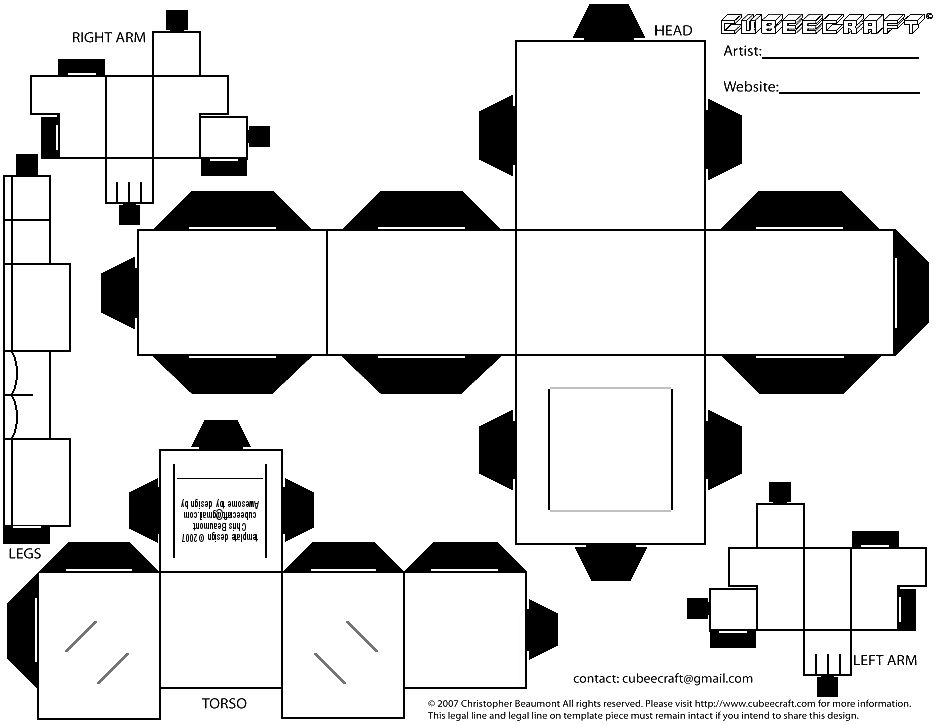 This is an image of Universal Cubee Craft Template