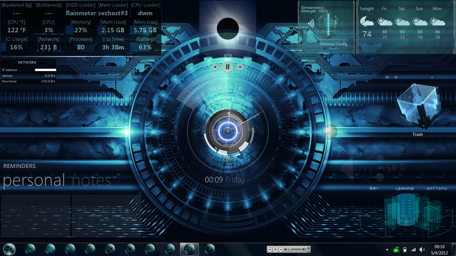 Tech a rainmeter skin free addictrevizion for Bureau windows 7 rainmeter