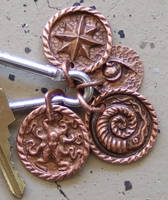 Hand Repoussed Copper key chain/necklace pendent by TimeTurbine