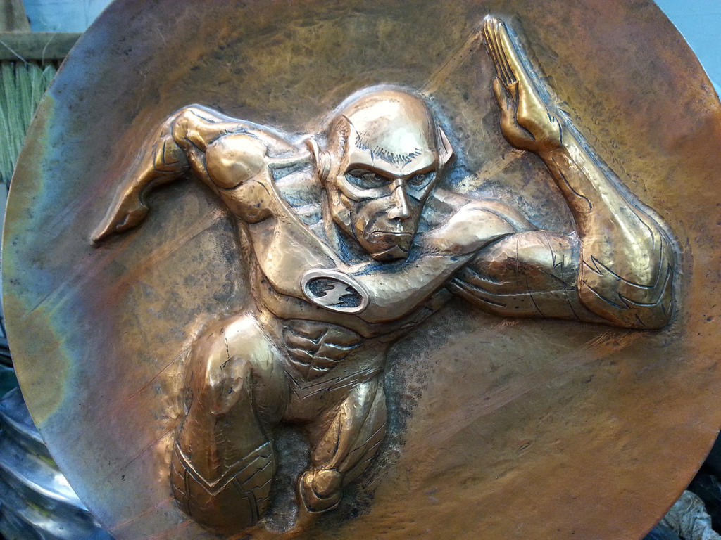 Chased Copper plate `the Flash` by TimeTurbine