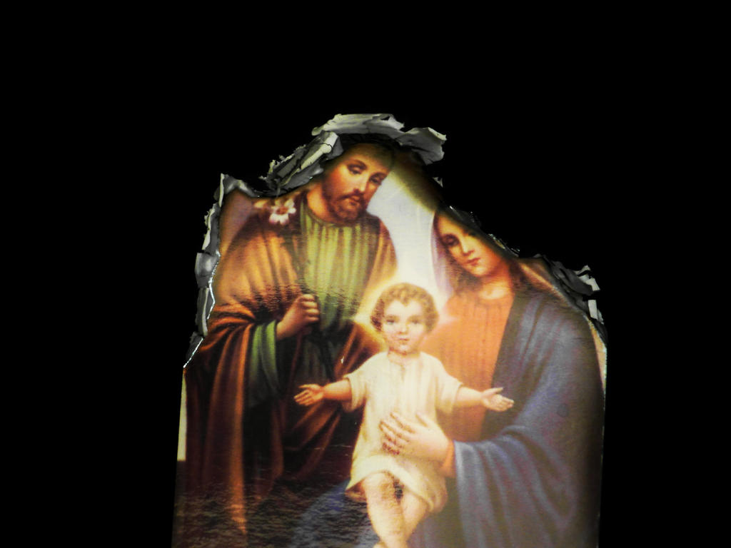 Burned picture of holy family by HellishDecor