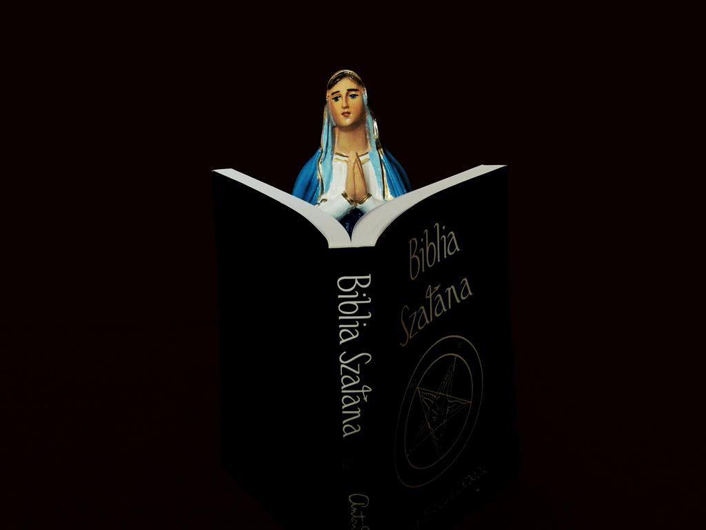 Holy mary with satanic bible by HellishDecor