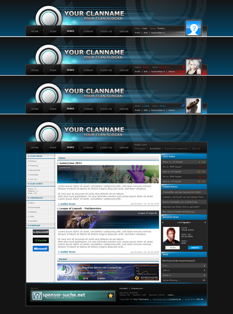 1st  Free Clan-Template 2012 Blue by Ahrta5