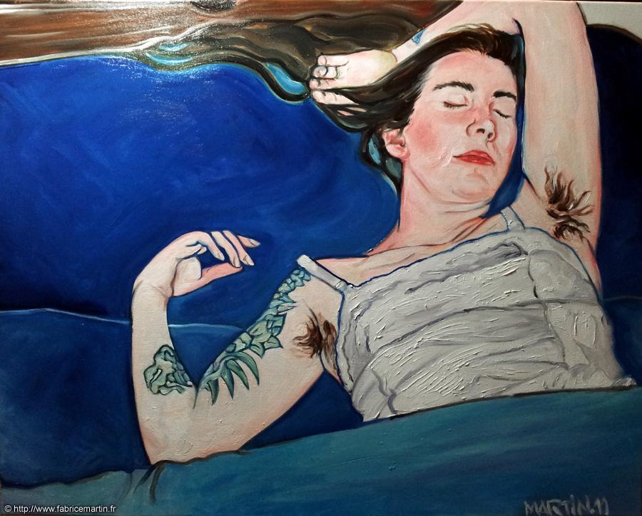 Sleeping tattooed hairy girl by Fabsand2