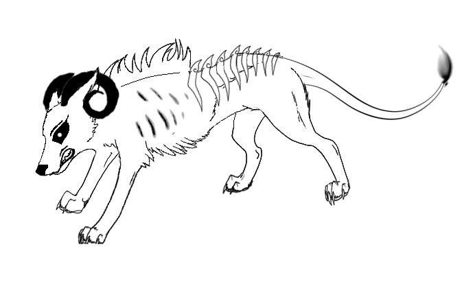 anime wolf demon. anime wolf lineart. Demon wolf