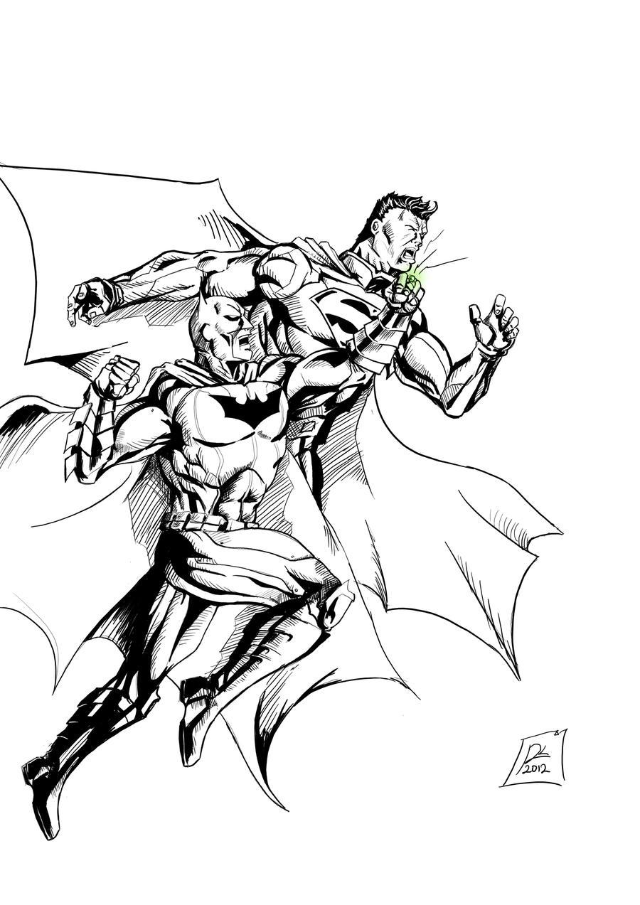 batman vs superman injustice coloring pages | Batman Vs Superman Drawings Sketch Coloring Page