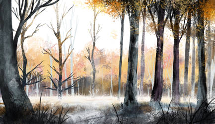 Winter Forest Sketch Study by N8watcher