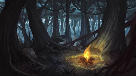 Jungle Camp Fire - Cardinal Cross Visual Novel BG