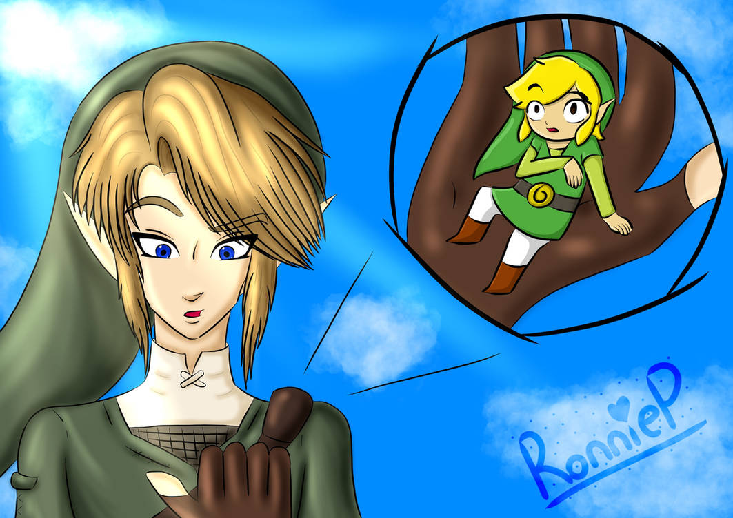 Giant Link and Tiny Toon Link by OrangeSoulDarcy on DeviantArt