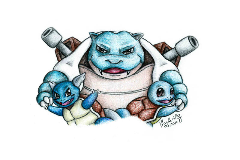 Blastoise / Wartortle / Squirtle by carla-ng