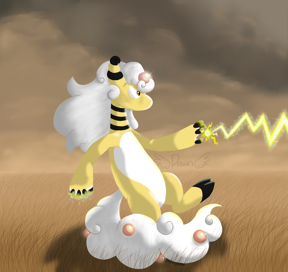 Ampharos Used Thunderbolt by D4wn-Flow3r