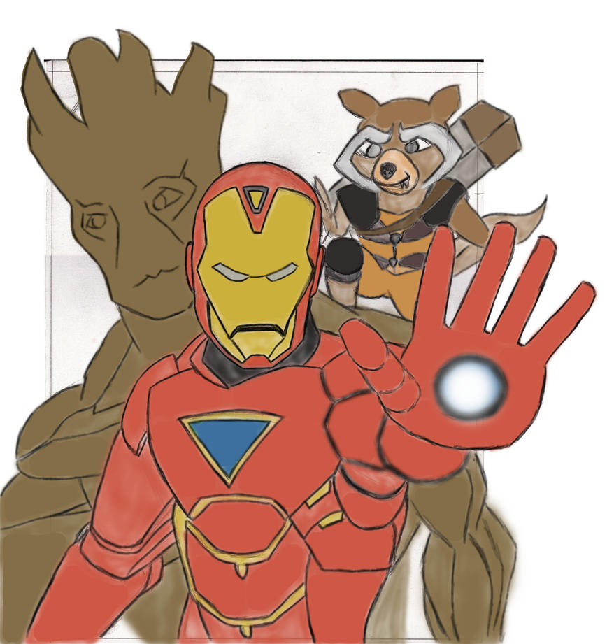 Rocket Groot Iron Man 0001(Pin UP) by JasonJo