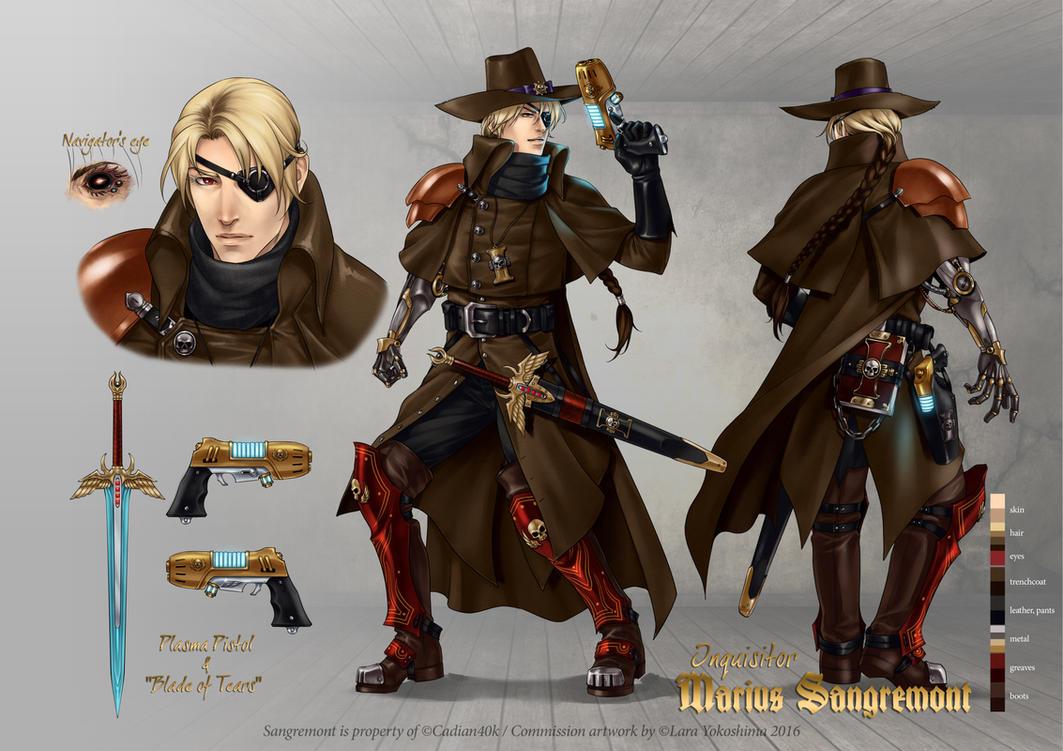 Inquisitor Sangremont -character sheet by LaraYokoshima