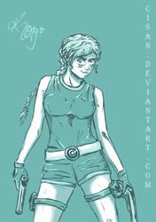 Crossover DBZ Bulma/Lara Croft Gift for Red by Cisan