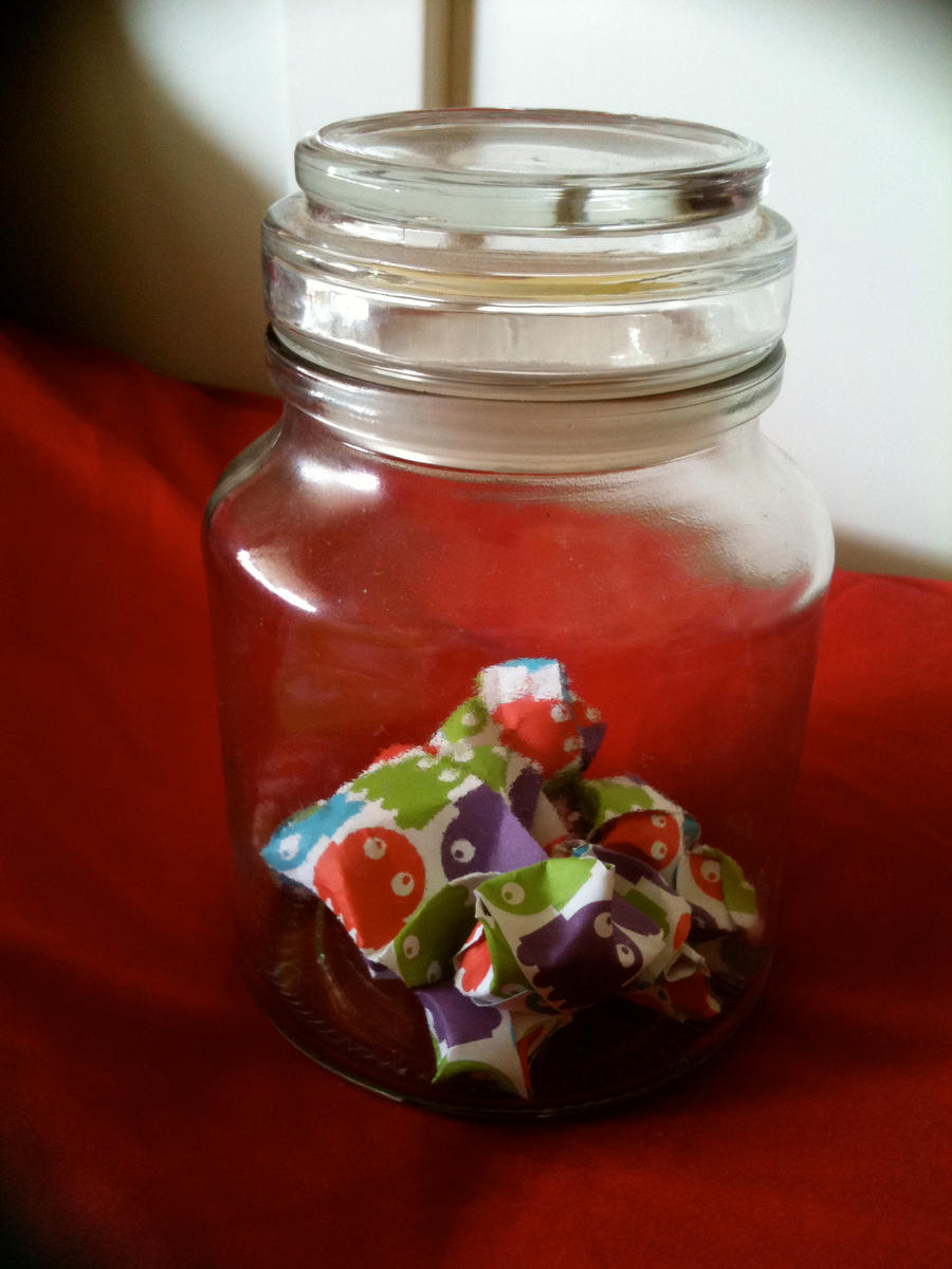 pac man origami star jar by Quiliny
