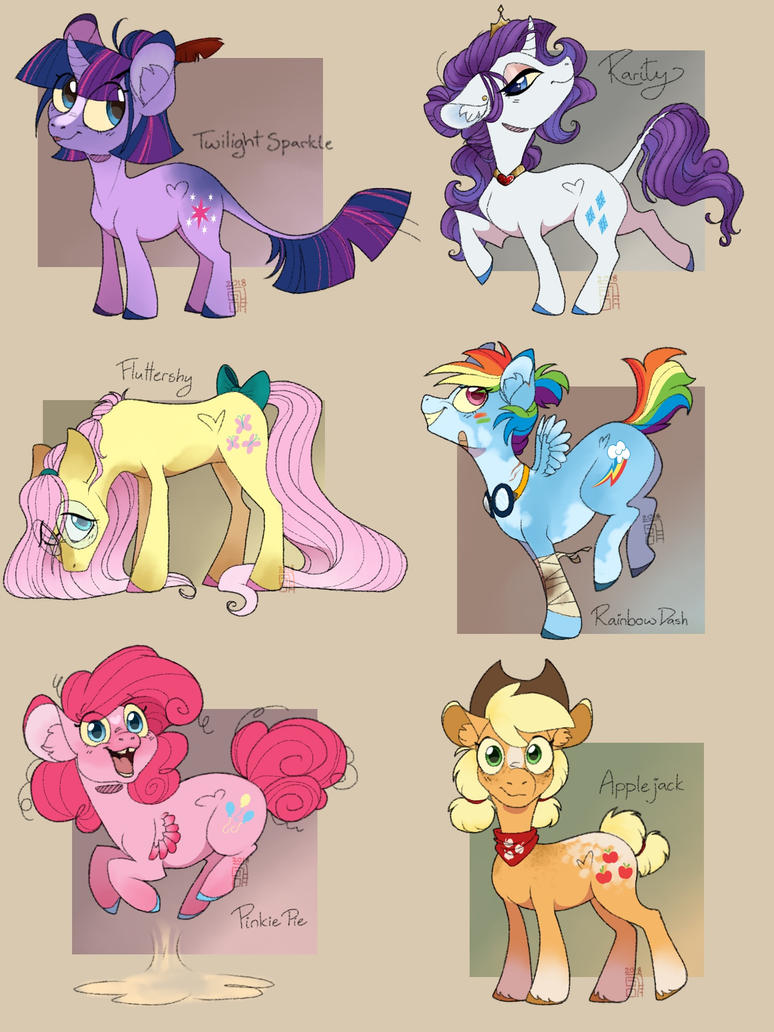 Mane 6 redesign by CatLoverGirl