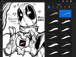 The PENTALINER - Procreate Ink Brush Test Deadpool