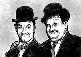 Laurel and Hardy Procreate Ink Brush Drawing by georgvw