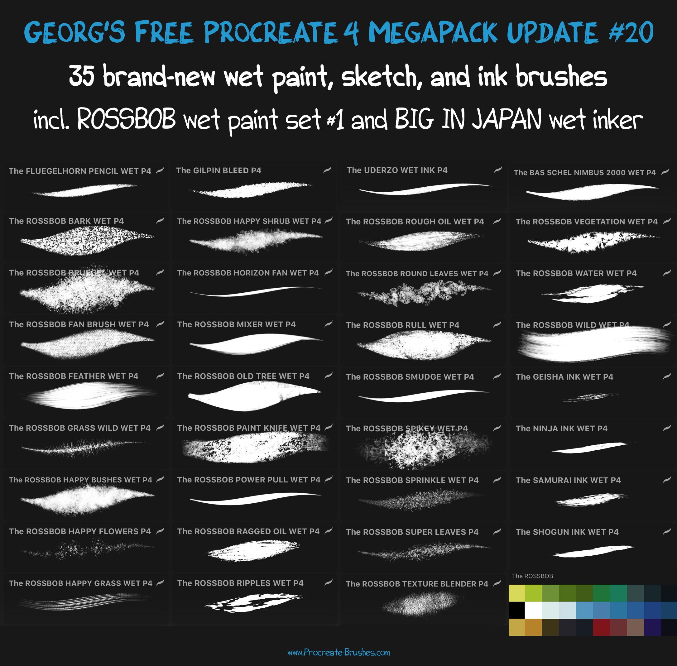 FREE Procreate 4 MegaPack Update #20 by georgvw on DeviantArt