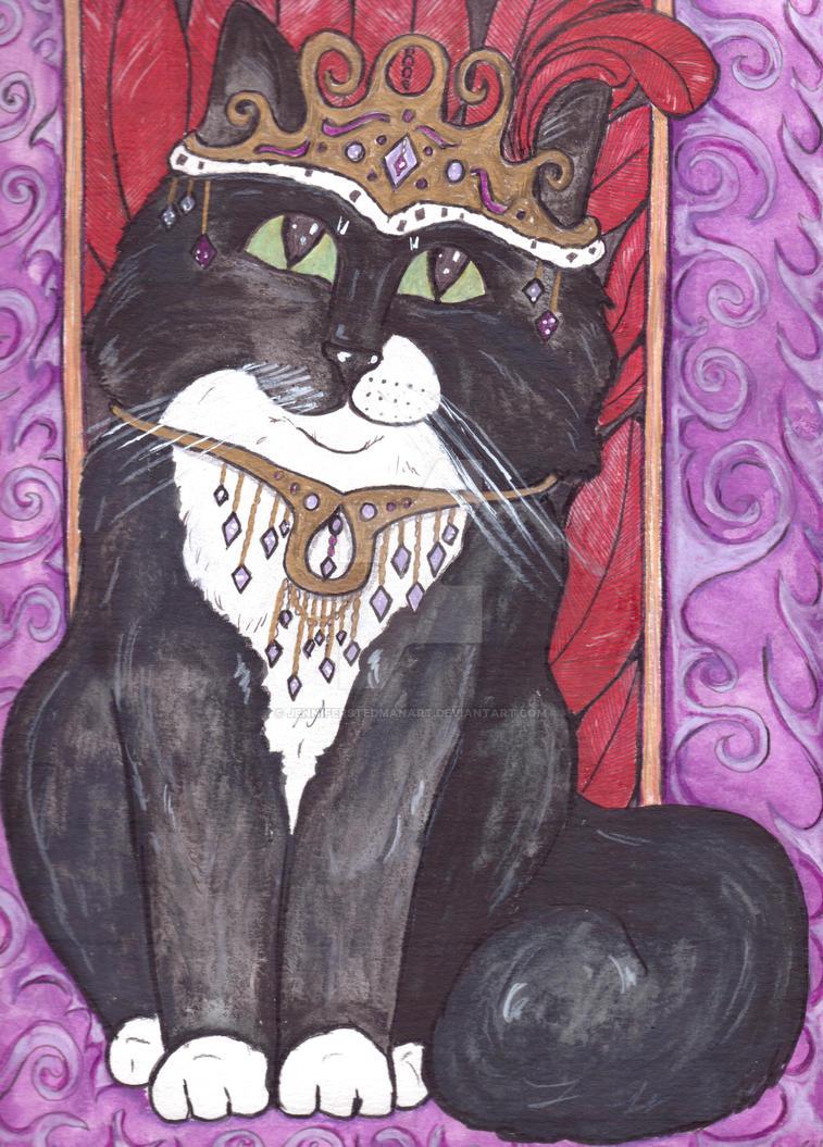 Black and white tuxedo kitty by JenniferStedmanArt