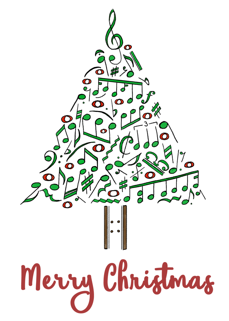 Musical Notes Christmas Tree - Card by GoldenYak9753