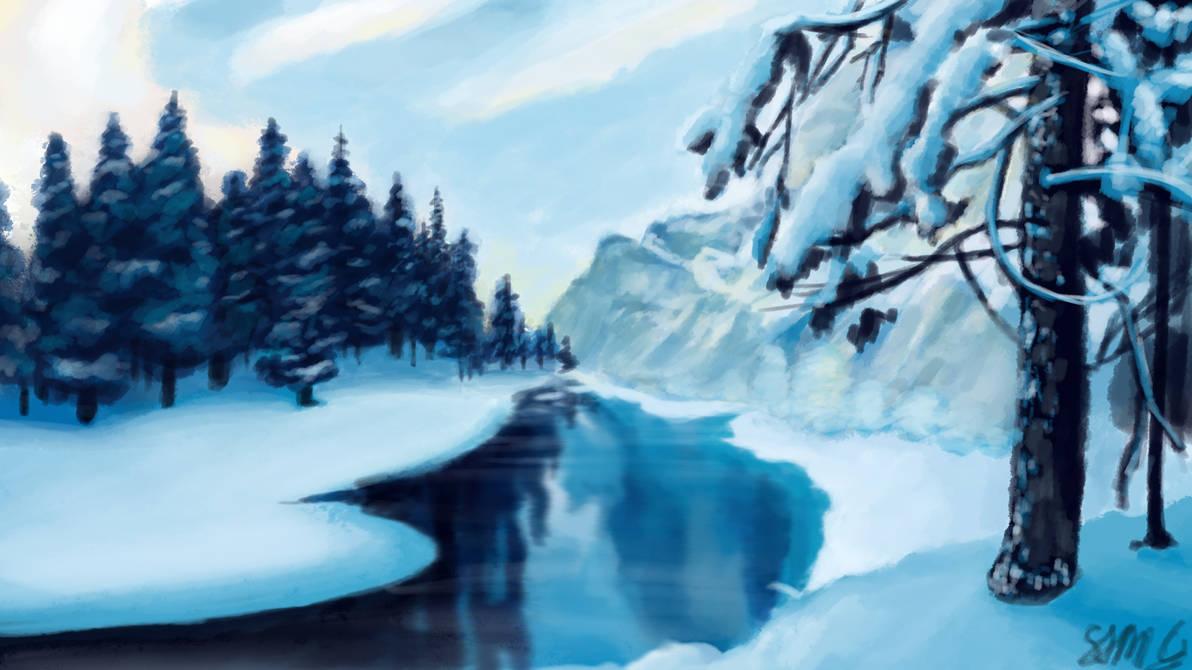 Winter River by GoldenYak9753