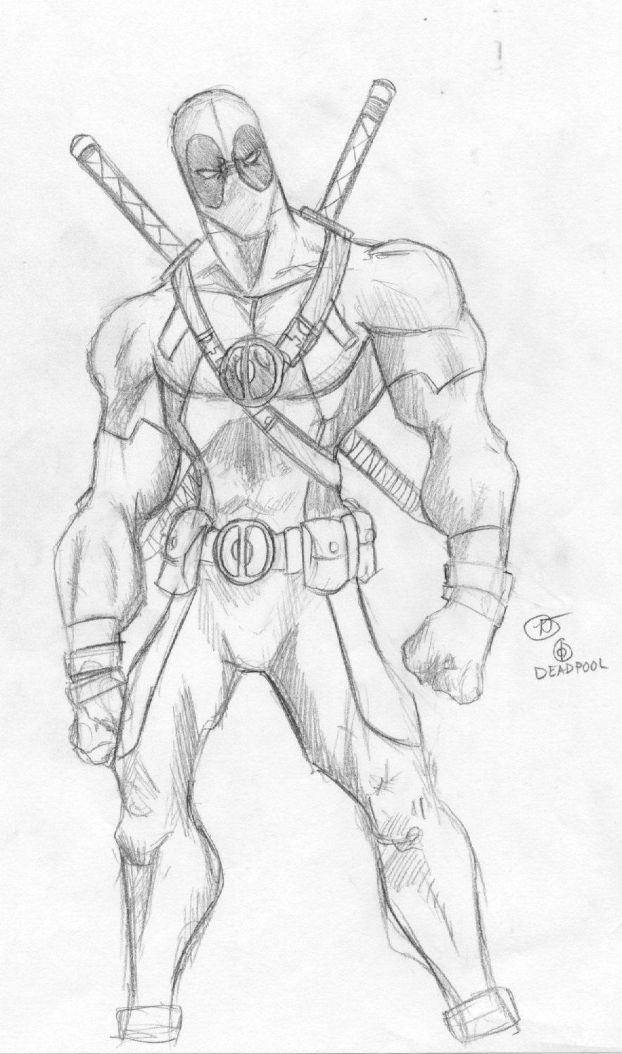 Full Body Anime Deadpool Drawing Gif