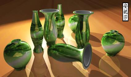 3D Green Vases 1