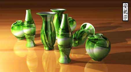 3D Green Vases 2