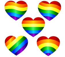 Rainbow Hearts Vector 1