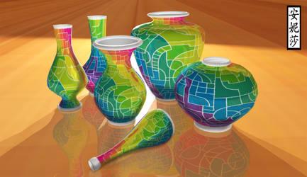 DA 16th Birthday Vases - Version 1, Render 2