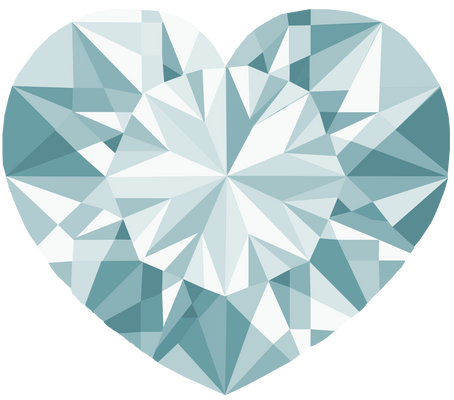 Silver White  Crystal Heart 2