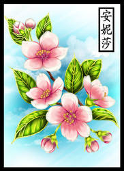 Cherry Blossom Embroidery Pattern - Coloured