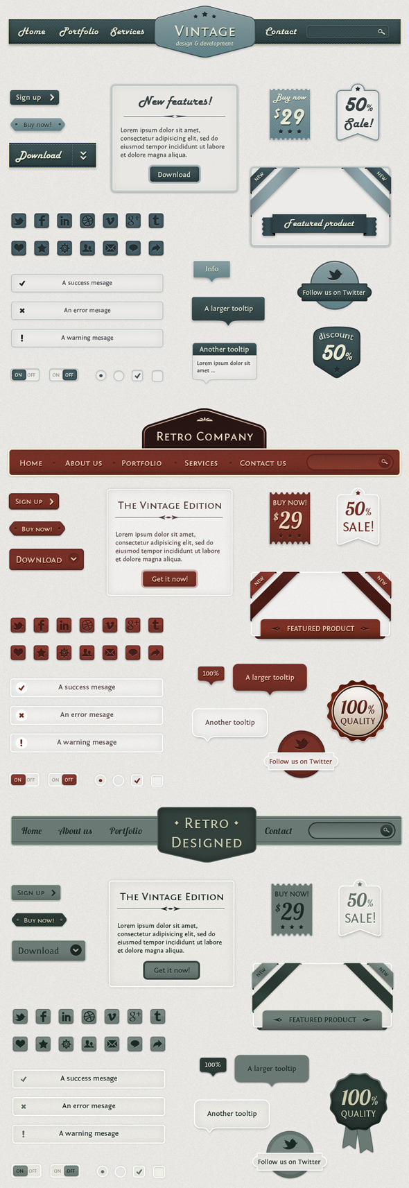 Retro Web Elements - Vintage Touch by loreleyyy