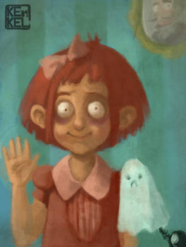 Creepy girl with a ghost pet