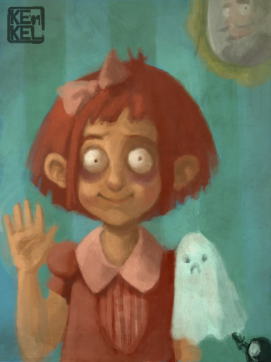 Creepy girl with a ghost pet by Kekel