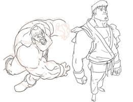Zangief + Ryu sketches by HughFreeman