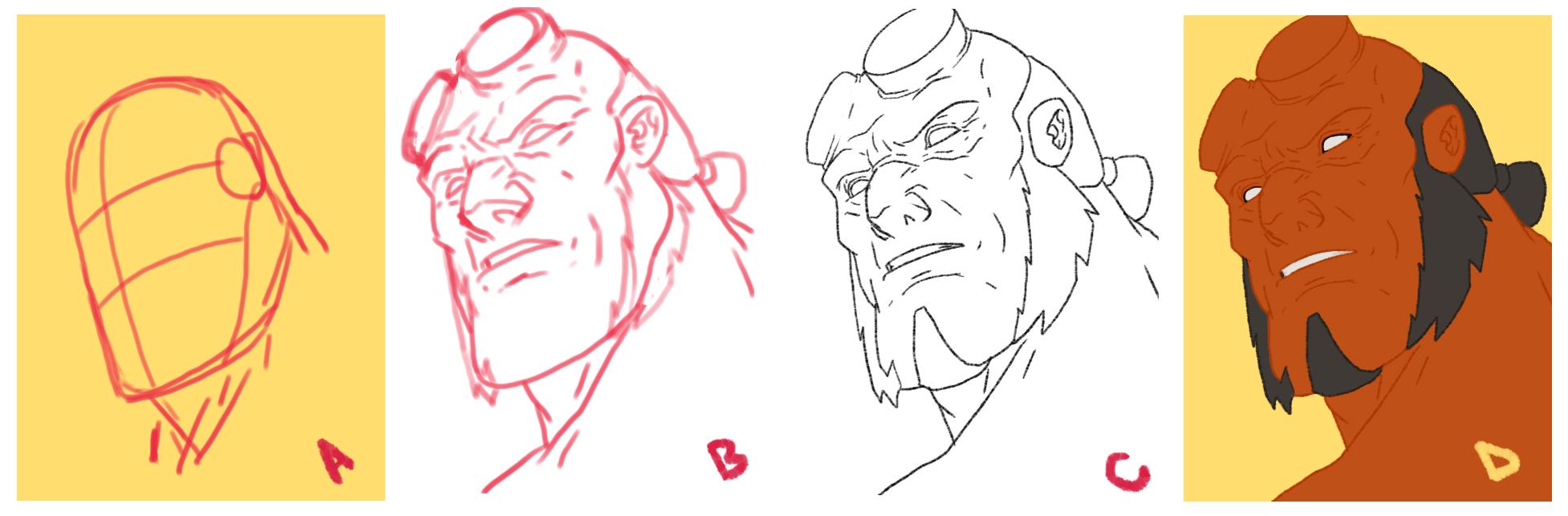 Drawing Hellboy [stepbystep]
