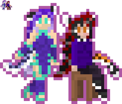 Wraith and Aakashi Neko Sprites by Nero-The-Lime