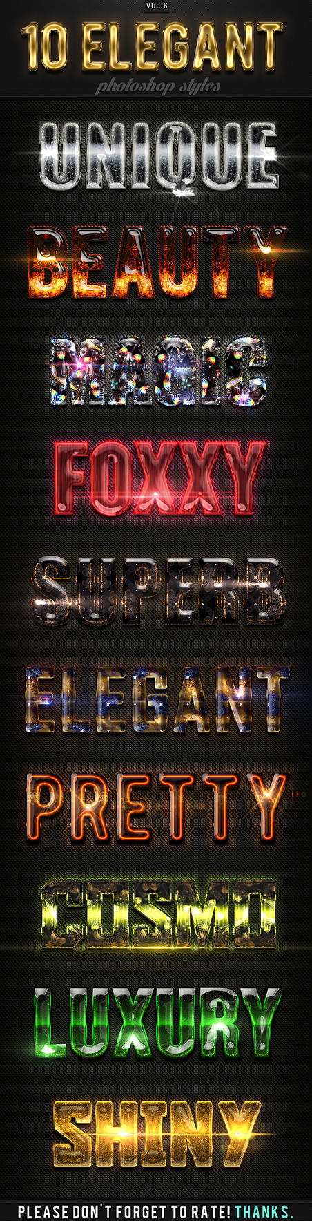 10 Elegant Photoshop Styles Vol.6 by GraphicAssets
