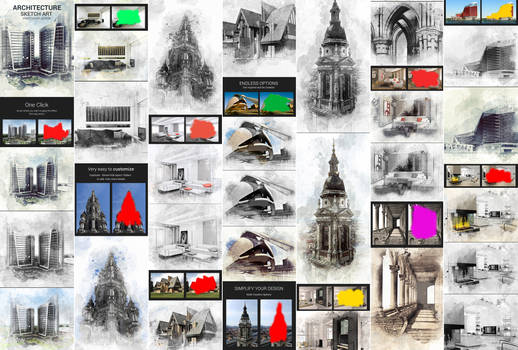 Architecture Sketch Art Photoshop Action by GraphicAssets