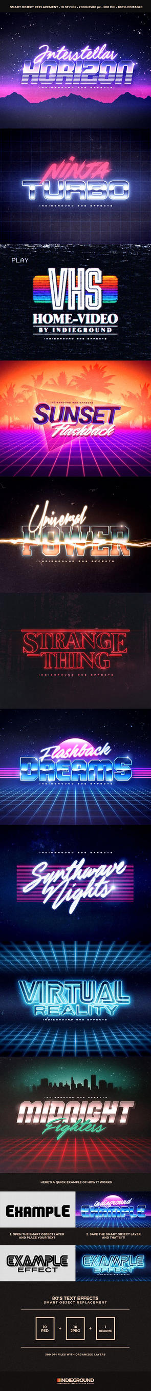 80s Text Effects by GraphicAssets